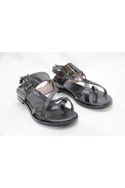 İnci Bayan Siyah 37 Numara Hakiki Deri Sandalet