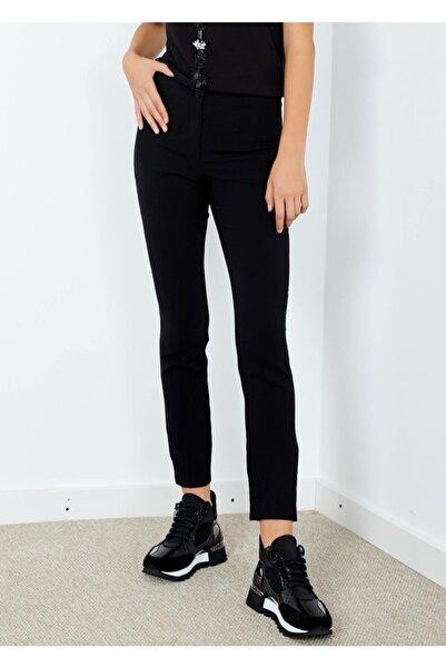 Adze Kadın Siyah Boru Paça Kumaş Pantolon Siyah 40