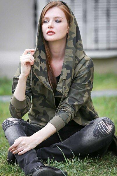 Chiccy Kamuflaj Desenli Kapüşonlu Oversize Ceket