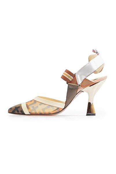 Flower Taba File Detaylı Topuklu Ayakkabı