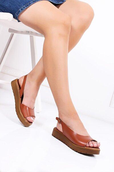Deripabuc Hakiki Deri Taba Kadın Deri Sandalet Dp-0094