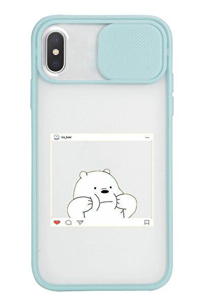 Mupity White Barebear Tasarımlı Iphone X Uyumlu Slayt Lens Kamera Korumalı Mavi Telefon Kılıfı