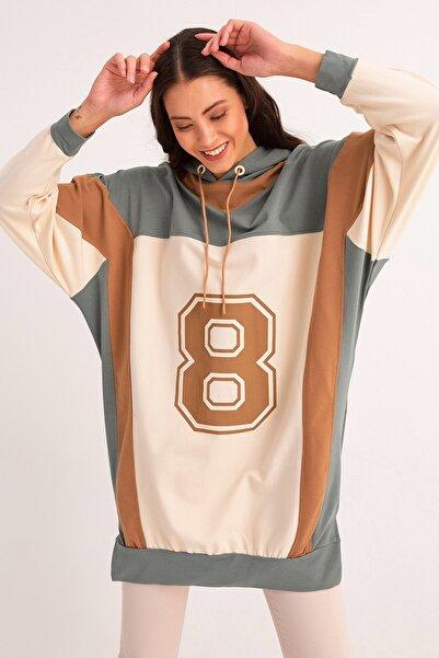 Fulla Moda Kapüşonlu Baskılı Tunik