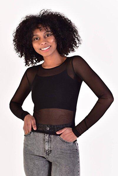 Addax Kadın Siyah Uzun Kol Transparan Bluz B0843 - V5 ADX-0000021604