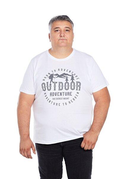 The Everest Mount Büyük Beden Erkek Beyaz Bisiklet Yaka Outdoor Baskılı T-shirt