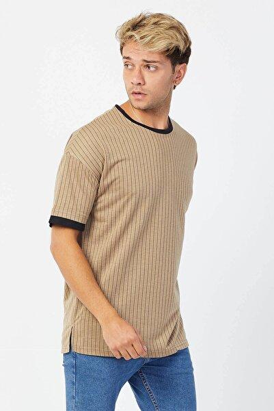 Karpefingo Erkek Çizgili Örme Oversize Kahve T-shirt