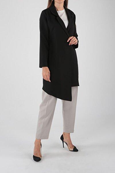 ALLDAY Siyah Düğmeli Bağcıklı Asimetrik Uzun Ceket