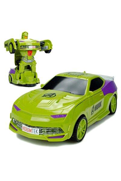 Powerhob Hulk Avengers Yeşil Dev Dönüşen Robot Oyuncak Araba 21 Cm