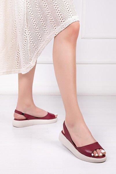 Deripabuc Hakiki Deri Bordo Kadın Deri Sandalet DP-1842