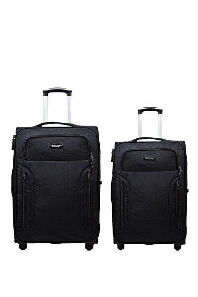 Anka 2'li Valiz Seti Travel Polo Krinkıl Kumaş Orta Boy Ve Kabin Boy Siyah 2'li Set