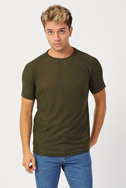 Karpefingo Erkek Waffle Reglan Kol Haki T-shirt