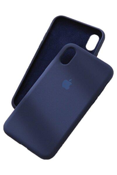 Joyroom Apple Iphone X Xs Logolu Silikon Lansman Kılıf Iç Yüzeyi Kadife Lacivert