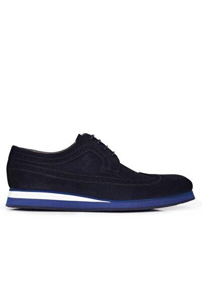 Nevzat Onay Hakiki Deri Lacivert Günlük Bağcıklı Erkek Ayakkabı -11529-
