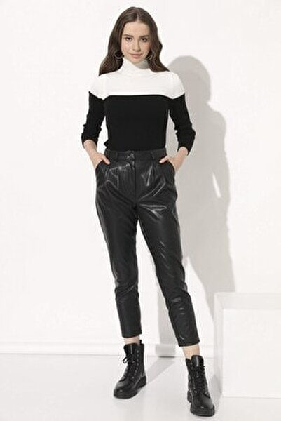 Deri Havuç Pantolon - Siyah
