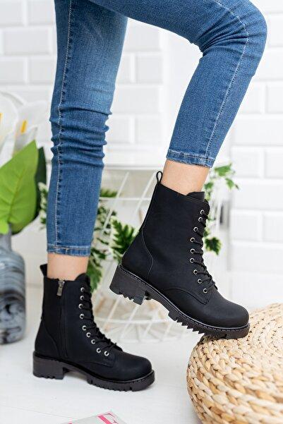 meyra'nın ayakkabıları Siyah Cilt 9 Bağcıklı Bot