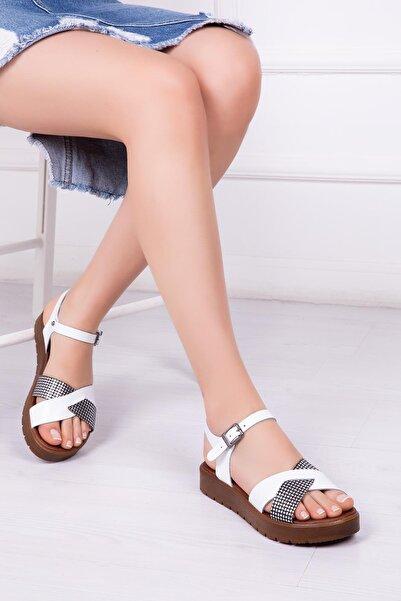 Deripabuc Hakiki Deri Beyaz X3 Kadın Deri Sandalet Dp-1079
