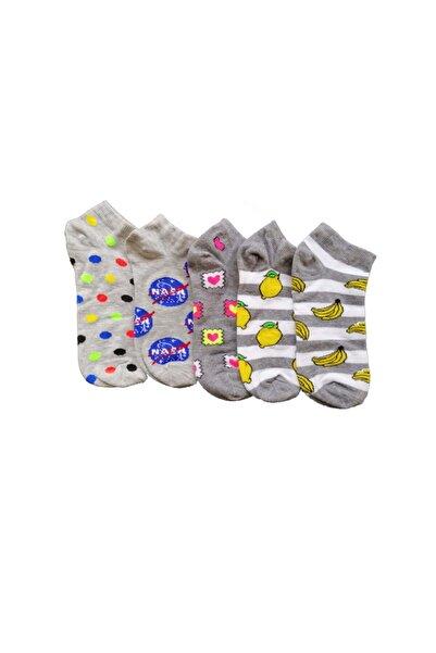 Altıgen socks 5 Çift Kadın Renkli Kalp-limon-muz-nasa-renkli Top Patik Çorap Set