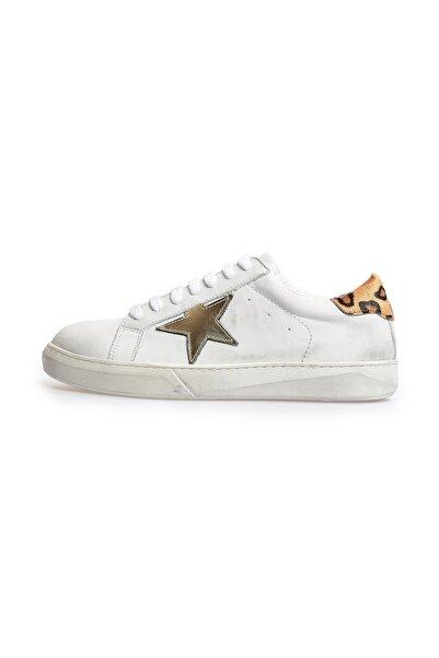 Flower Beyaz Leopar Logolu Eskitmeli Sneakers