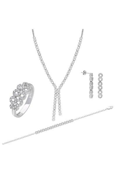 Chavin Su Yolu Gümüş Kolye Küpe Bileklik Yüzük Set Ef98