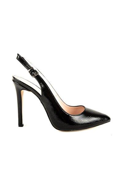 DİVUM Siyah Kırık Rugan Topuklu Ayakkabı