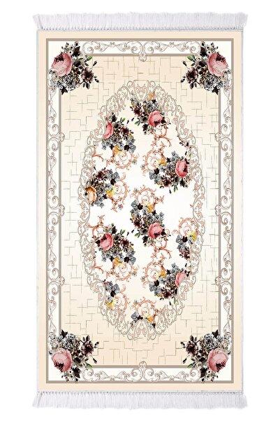 EXCLUSIVE Toprak Dijital Halı Saçaklı Nora Çiçekli Bej Beyaz