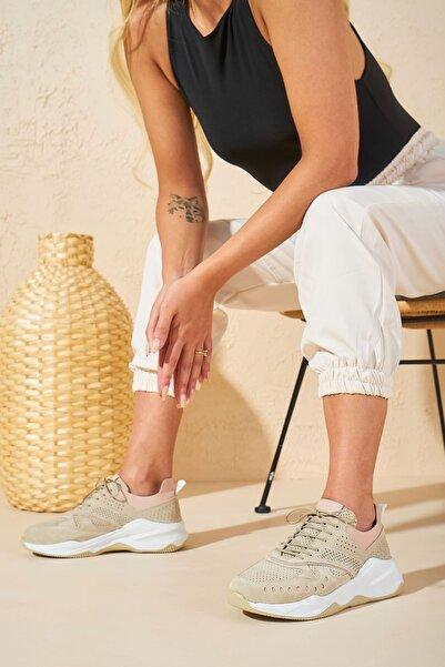 Louis Cardy Nixus Bej Hakiki Deri Kadın Sneakers