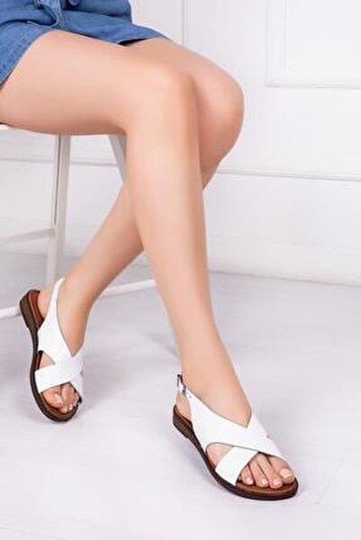 Hakiki Deri Beyaz Kadın Deri Sandalet Dp-0069