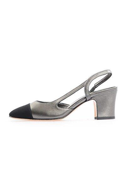 Flower Bronz Kalın Topuklu Ayakkabı
