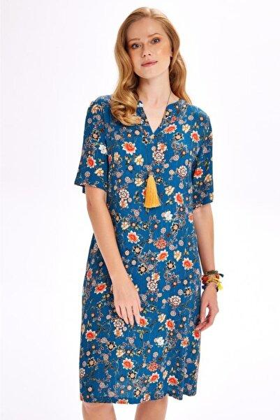 İKİLER Yakası Patlı Beli Bağcıklı Desenli Elbise 020-4015