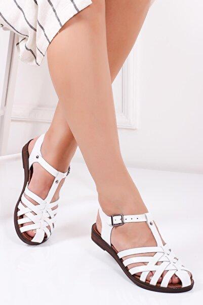 Deripabuc Hakiki Deri Beyaz Kadın Deri Sandalet Dp-0067