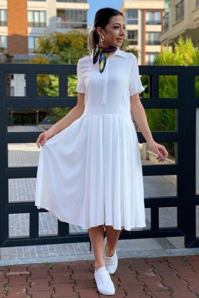 ZİNDİ Kadın Önü Düğmeli Kısa Kollu Elbise Ekru