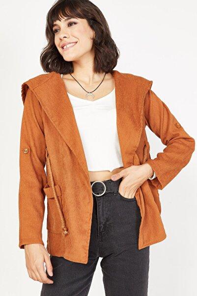 Lafaba Kadın Taba Kapüşonlu Fitilli Kadife Ceket