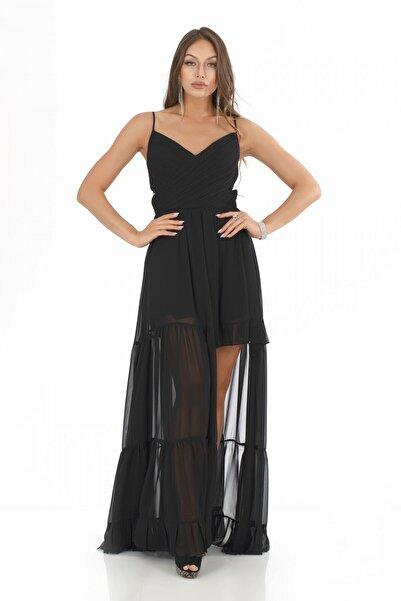 Pierre Cardin Carmen Siyah Şifon Pliseli Askılı Uzun Abiye Elbise