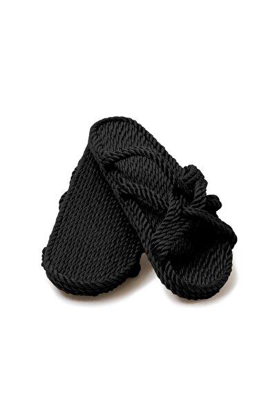 Nomadic State Of Mind - Slip On Siyah Hasır Ip Terlik