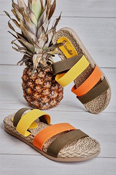 Bambi Haki/siyah/sarı Kadın Sandalet L0682020054