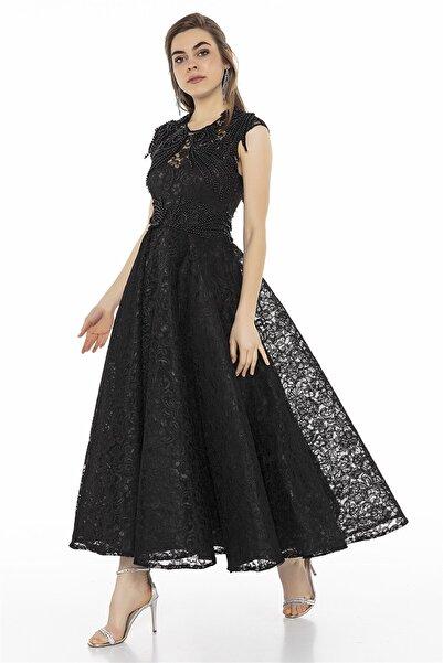 Abiye Sarayı Siyah Işlemeli Dantel Midi Elbise