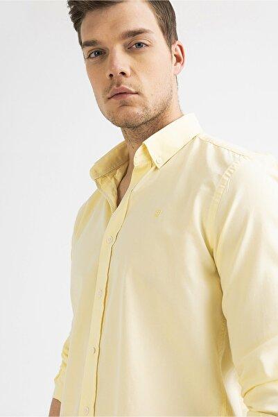 Avva Erkek Sarı Oxford Klasik Yaka Slim Fit Gömlek A01s2272