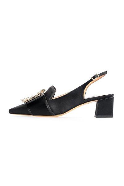 Flower Siyah Saten Kalın Topuklu Ayakkabı