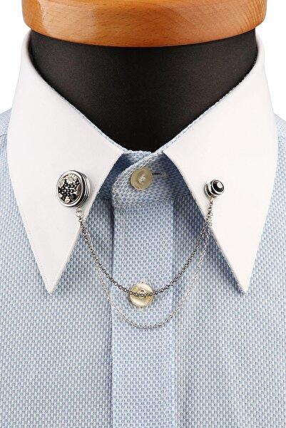 Kravatkolik Gümüş Renk Füme Taşlı Gömlek Yaka Iğnesi Gı198