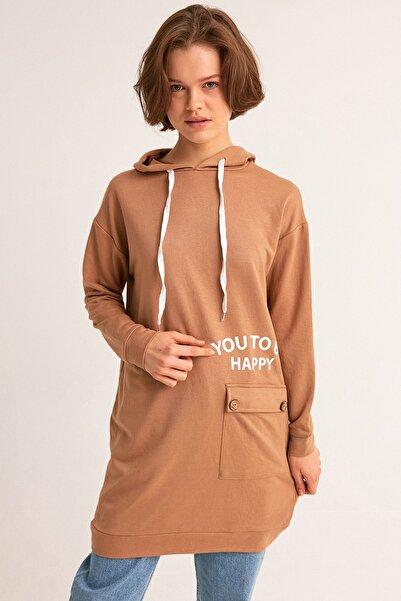 Fulla Moda Baskılı Tek Cepli Kapüşonlu Tunik