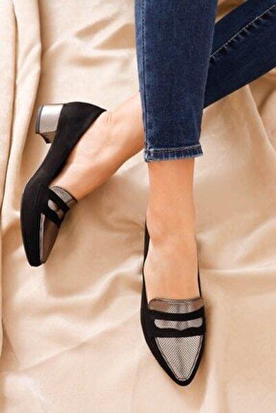 Mia Topuklu Siyah Süet Platin Detay Ayakkabı