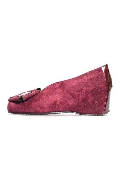 Flower Bordo Süet Fiyonklu Günlük Ayakkabı