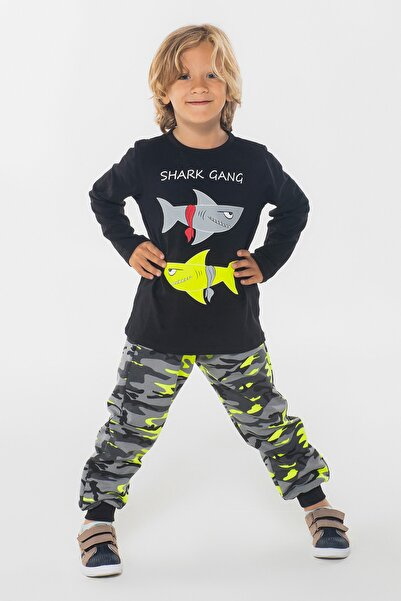 ZENOKIDO Shark Kamuflaj Pantolon + Tshirt Takım