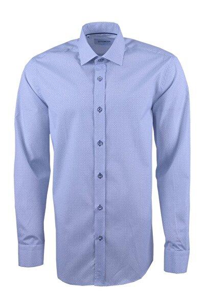 Ottomoda Uzun Kollu Desenli Gömlek Lacivert-beyaz