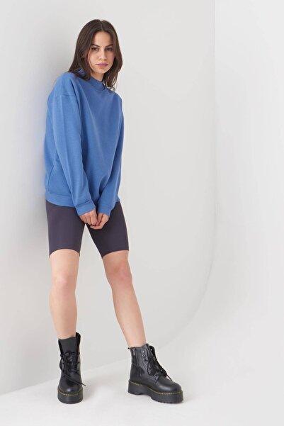 Addax Kadın Mavi Yarım Balıkçı Yaka Sweat S8606 - I4 - I5 ADX-0000019754
