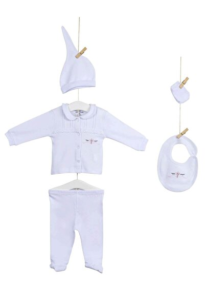 Aziz Bebe 5251 Kız Bebek Pamuklu 5'li Hastene Çıkış Seti