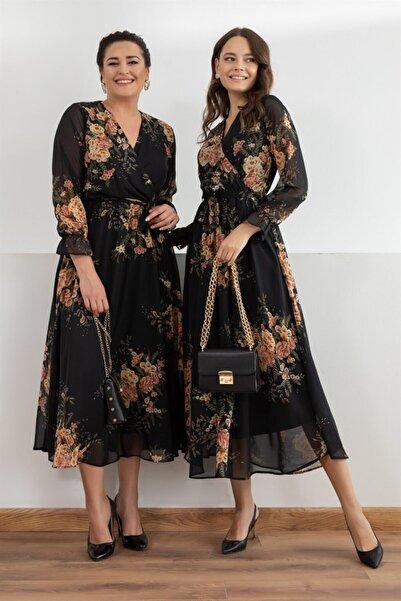 Elbise Delisi Siyah Sarı Çiçekli Kruvaze Yaka Büyük Beden Şifon Elbise