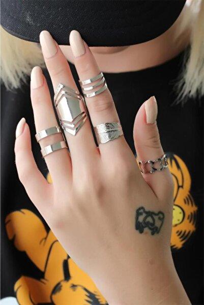 Goldest Accessories Gümüş Renkli Metal 5li Yüzük Seti