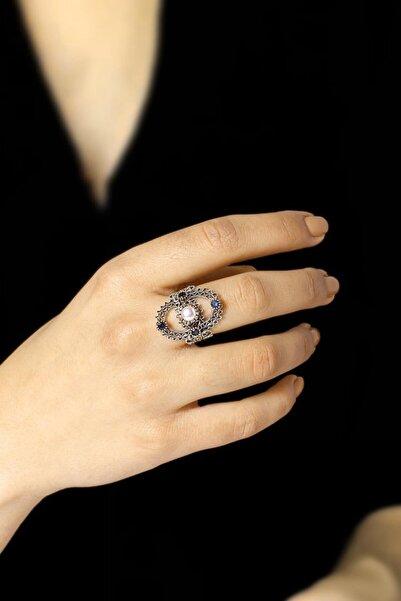 Sümer Telkari Kadın İnci Taşlı Telkari İşlemeli Gümüş Yüzük 2494