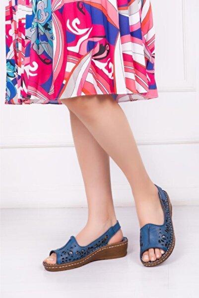Deripabuc Hakiki Deri Lacivert Kadın Deri Sandalet Dp16-0602